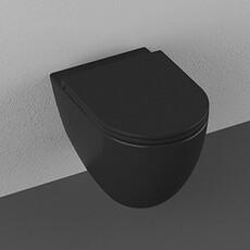 """Унитаз подвесной безободковый Isvea Infinity чёрный матовый, сидение """"микролифт"""" (10NF02001B)"""