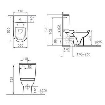 Унитаз-компакт Vitra Form 300 сиденье микролифт (9729B003-7200)