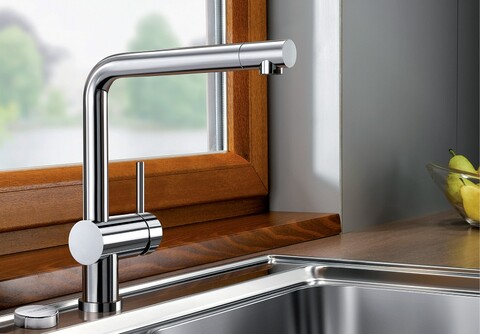 Кухонный смеситель Blanco Linus-F (нержавеющая сталь)