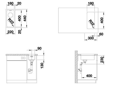 Кухонная мойка Blanco Andano 180-U (без аксессуаров)