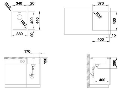 Кухонная мойка Blanco Andano 340-IF (зеркальная полировка, без клапана-автомата)