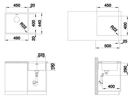 Кухонная мойка Blanco Andano 450-U (зеркальная полировка, без клапана-автомата)