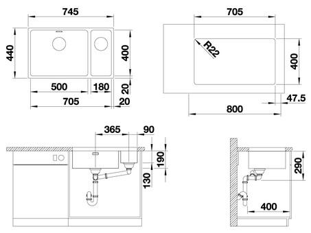 Кухонная мойка Blanco Andano 500/180-U (полированная, без клапана-автомата, правая)