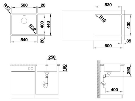 Кухонная мойка Blanco Andano 500-IF (зеркальная полировка, без клапана-автомата)