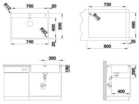 Кухонная мойка Blanco Andano 700-IF/A (зеркальная полировка, с клапаном-автоматом)
