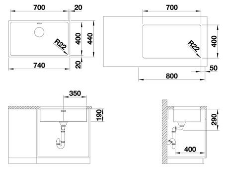 Кухонная мойка Blanco Andano 700-U (зеркальная полировка, без клапана-автомата)