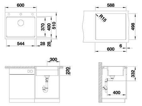 Кухонная мойка Blanco Etagon 6 (серый беж, с отводной арматурой InFino)