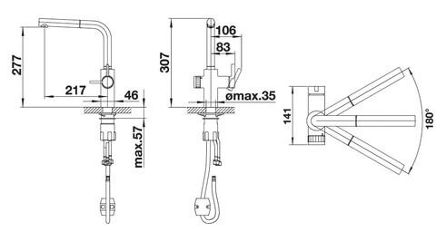 Кухонный смеситель Blanco Evol-S Volume (нержавеющая сталь UltraResist, рычаг слева)