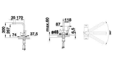 Кухонный смеситель Blanco Fontas II (антрацит) + BWT-БАРЬЕР EXPERT STANDARD