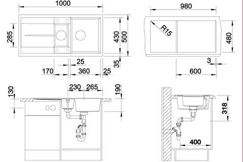 Кухонная мойка Blanco Metra 6 S (бетон, с клапаном-автоматом)