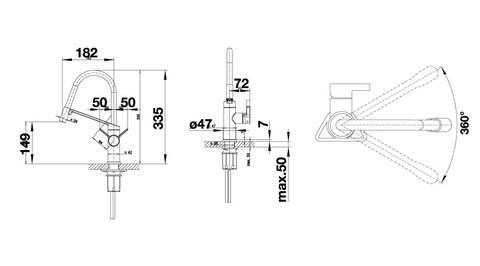 Кухонный смеситель Blanco Viu-S (4 съемных шланга в комплекте)