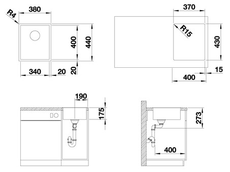 Кухонная мойка Blanco Zerox 340-IF (Durinox® с отводной арматурой InFino®)