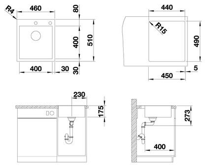 Кухонная мойка Blanco Zerox 400-IF/А (Durinox® с отводной арматурой InFino®)