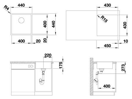 Кухонная мойка Blanco Zerox 400-IF (Durinox® с отводной арматурой InFino®)
