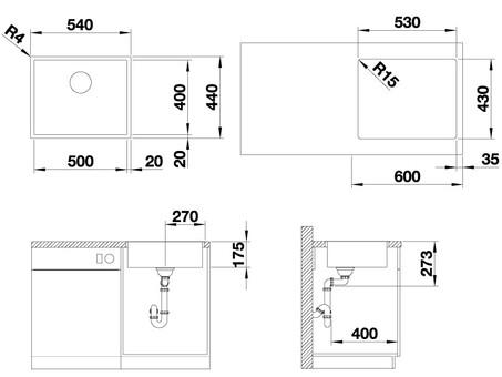 Кухонная мойка Blanco Zerox 500-IF (Durinox® с отводной арматурой InFino®)