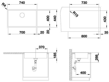 Кухонная мойка Blanco Zerox 700-IF (Durinox® с отводной арматурой InFino®)
