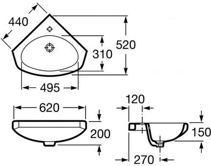 Умывальник угловой Roca Estudio 44x52 (325200001)