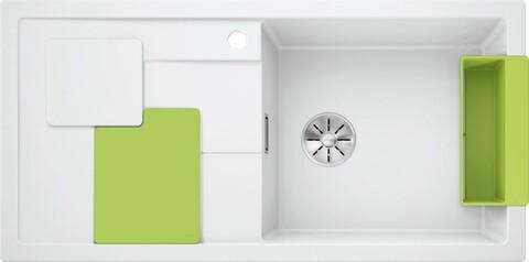 Кухонная мойка Blanco Sity XL 6 S (белый, аксессуары киви, с отводной арматурой InFino®)