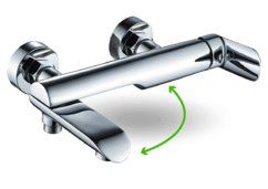 Cмеситель ванно-душевой Laveo Alea с подвижным изливом хром (BLE_01FD)